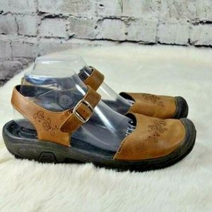 KEEN Brown Leather Embroidered Hiking Sandals